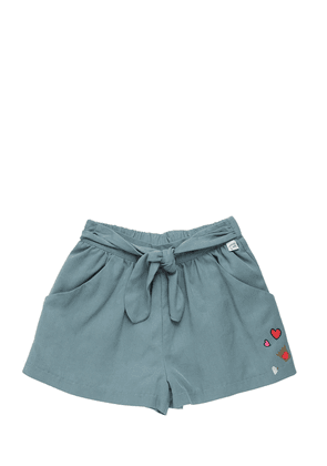 Twill Shorts With Self Tie Half Belt