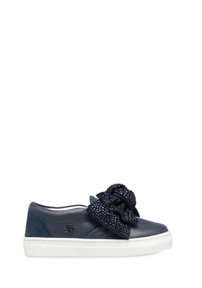 Bow Embellished Nappa Leather Sneakers