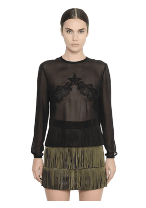 Sheer Silk Georgette & Lace Shirt