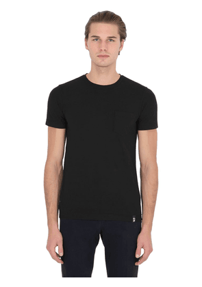 Cotton Crepe T-shirt With Jersey Pocket