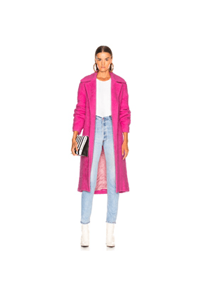 Helmut Lang Nappy Wool Coat in Pink