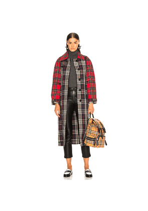 Burberry Tartan Trench Coat in Black,Plaid,Red
