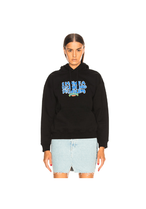 VETEMENTS Graphic Fitted Hoodie in Black