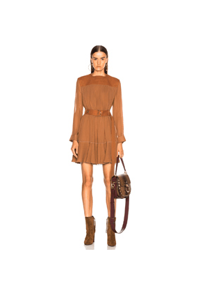 Chloe Silk Mix Mousseline Belted Mini Dress in Brown