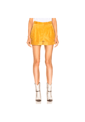 Isabel Marant Abot Suede Short in Yellow