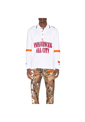 Heron Preston Influencer Long Sleeve Polo in White