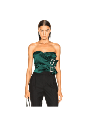 9562882a2d65c Alexandre Vauthier Stretch Satin Buckle Strapless Top in Green