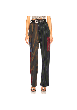 Loewe Patchwork Stripe Cargo Trouser in Blue,Green,Red,Stripes