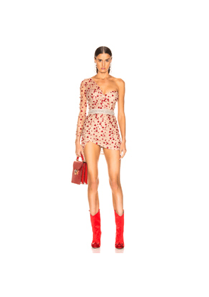 Aadnevik French Lace One Shoulder Mini Dress in Abstract,Neutral,Red