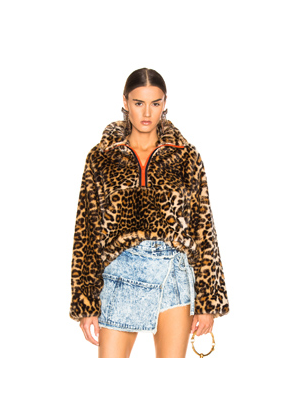 Sandy Liang Garbanzo Pullover in Animal Print,Brown,Neutral