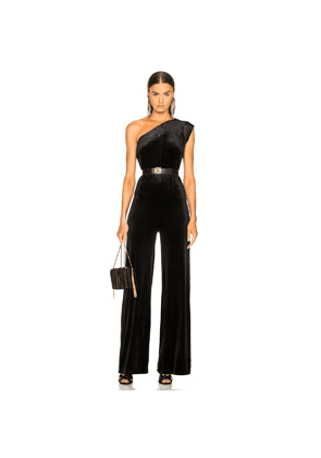 0f5c50cb1d3a Norma Kamali One Shoulder Velvet Jumpsuit in Black