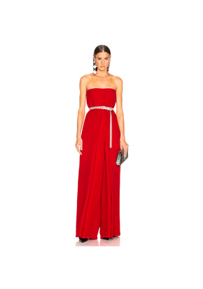 Valentino Cady Couture Strapless Jumpsuit in Red
