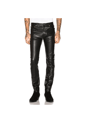 Saint Laurent Leather Skinny Jeans in Black