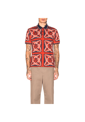 Valentino Printed Polo in Abstract,Blue,Red