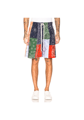 Loewe Bandana Patchwork Shorts in Blue,Green,Paisley,Red