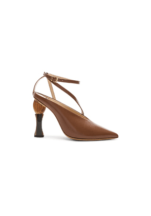 JACQUEMUS Leather Faya Heels in Brown