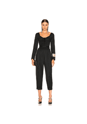 Dolce & Gabbana Long Sleeve Pinstriped Jumpsuit in Black,Stripes