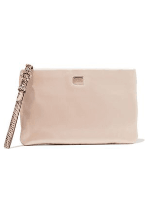 Dolce & Gabbana Woman Embellished Snake Effect Leather-trimmed Satin Pouch Pastel Pink Size -