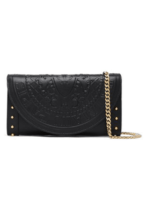 Balmain Woman Studded Embossed Leather Wallet Black Size -
