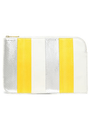 Diane Von Furstenberg Woman Paneled Leather And Watersnake Pouch White Size -