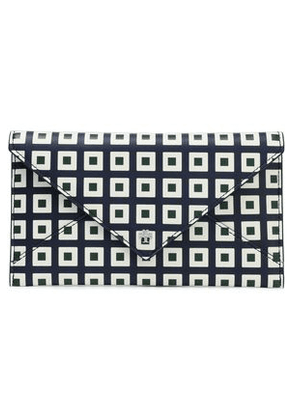 Tory Burch Woman Printed Leather Wallet Midnight Blue Size -