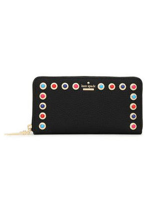Kate Spade New York Woman Embellished Textured-leather Continental Wallet Black Size -