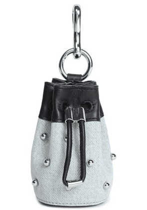 Alexander Wang Woman Leather-trimmed Studded Denim Keychain Light Denim Size -