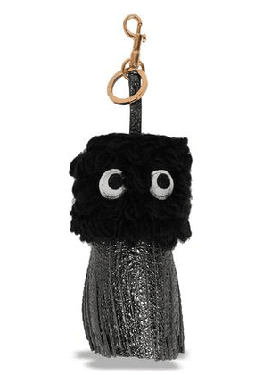 Anya Hindmarch Woman Embellished Wool And Metallic Leather Keychain Black Size -