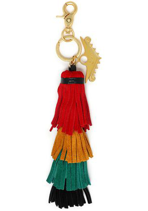 Camilla Woman Color-block Leather Tassel Keychain Red Size -