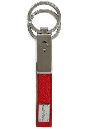 Dolce & Gabbana Woman Textured-leather Keychain Crimson Size -