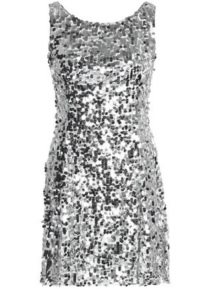 Dolce & Gabbana Woman Fluted Sequined Tulle Mini Dress Silver Size 36