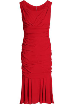 Dolce & Gabbana Woman Ruched Silk-crepe Dress Red Size 38