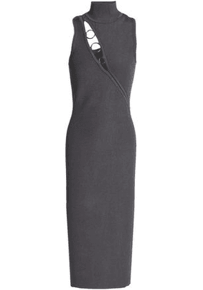 Cushnie Et Ochs Woman Alsia Ring-embellished Cutout Ribbed-knit Midi Dress Anthracite Size M