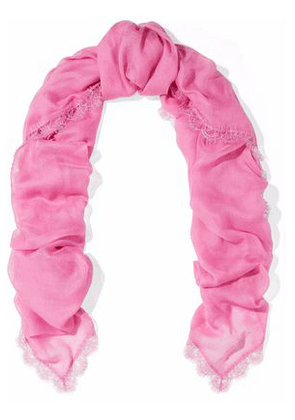 Valentino Woman Lace-trimmed Modal And Cashmere-blend Scarf Pink Size -