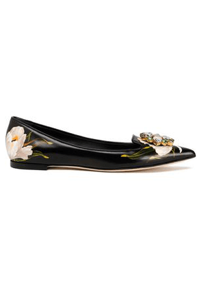 Dolce & Gabbana Woman Crystal-embellished Floral-print Leather Point-toe Flats Black Size 36.5