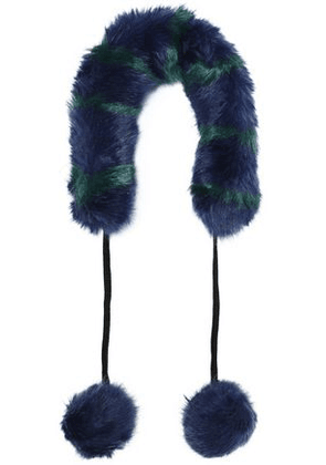 Charlotte Simone Woman Pompom-embellished Striped Faux Fur Collar Navy Size -