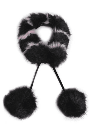 Charlotte Simone Woman Pompom-embellished Striped Faux Fur Collar Black Size -