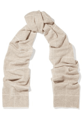 Madeleine Thompson Woman Checked Wool And Cashmere-blend Scarf Cream Size -
