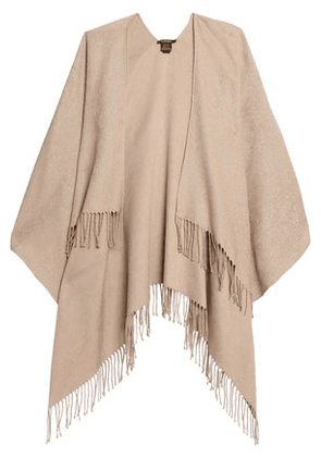 Roberto Cavalli Woman Fringe-trimmed Cotton-blend Jacquard Wrap Sand Size ONESIZE