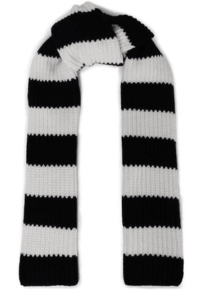 Redvalentino Woman Striped Wool And Cashmere-blend Knit Scarf Black Size -