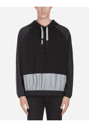 Dolce & Gabbana Sweaters - SWEATSHIRT WITH HOOD AND PATCH BLACK