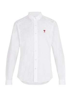 Ami - Logo Embroidered Long Sleeve Shirt - Mens - White