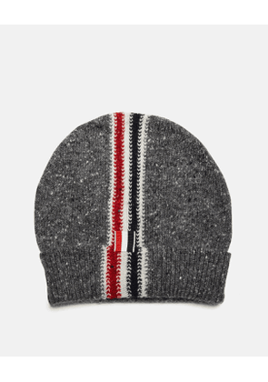 Thom Browne Hats - Beanie with Tri-coloured stripe DARK GREY WOOL 70% MOHAIR 5e788a1530a2