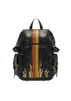 Leather backpack with metallic prints