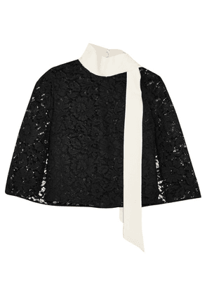 Valentino - Cape-effect Crepe-trimmed Corded Lace Top - Black