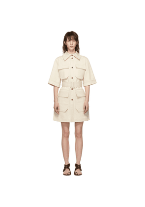 Nina Ricci Off-White Denim Belted Dress
