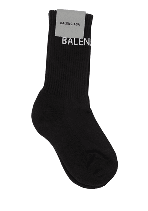 Logo Print Rib Knit Cotton Socks