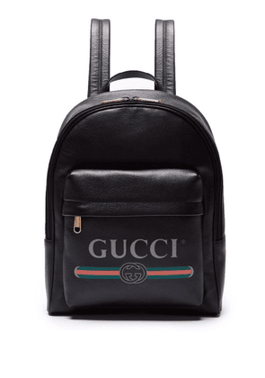 Gucci - Logo Printed Leather Backpack - Mens - Black