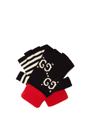 Gucci - Logo Intarsia Mismatched Fingerless Cotton Gloves - Mens - Navy