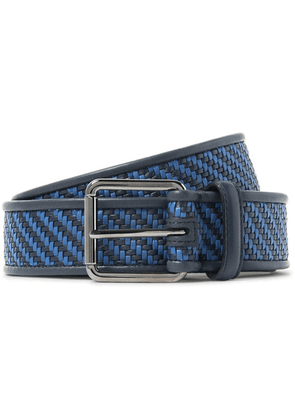 Ermenegildo Zegna - 3.5cm Blue Pelle Tessuta Leather Belt - Midnight blue